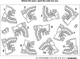 IQ training find the two identical pictures with gumboots visual puzzle and coloring page. Answer included.