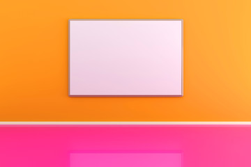 3d illustration of a picture frame on the wall in an orange room.