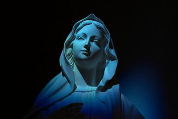 Virgin Mary on blue light