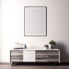 Mock up poster frame in Interior, modern style, 3D illustration