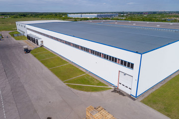 warehouse building from the height, a platform for transport