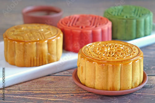 Moon cake for Mid autumn festival , Colorful moon cake of