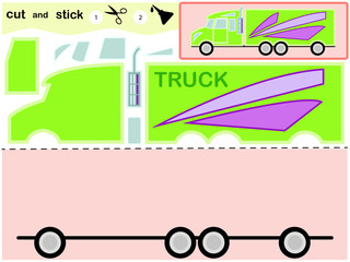 Educational paper game for kids, Truck. Use scissors and glue to create an image.