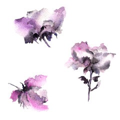 Floral elements for wedding design. Watercolor abstract flowers. Floral decor. Decorative flowers set.