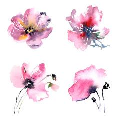 Floral elements for wedding design. Watercolor flowers. Floral decor. Decorative flowers set.