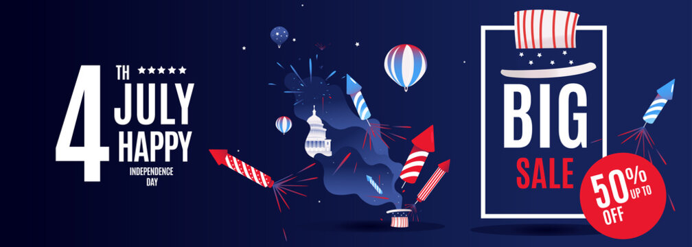 4th of July Exclusive Offers Sale, Sale Poster, Sale Banner, Sale Flyer, Extra Discount Offer, 50 Off, . Vector illustration with glossy hat and blue abstract design. fireworks vector mega banner