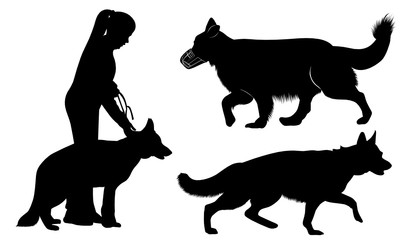 set of dog silhouettes German Shepherd Dogs