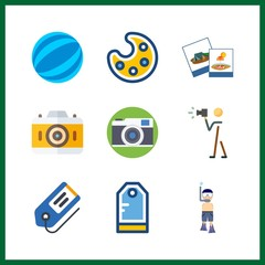 9 hobby icon. Vector illustration hobby set. paint palette and photography icons for hobby works