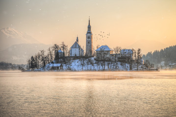 Amazing sunset at the lake Bled in winter, Slovenia.