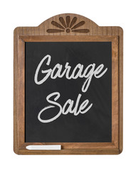A chalkboard sign on a white background - Garage Sale