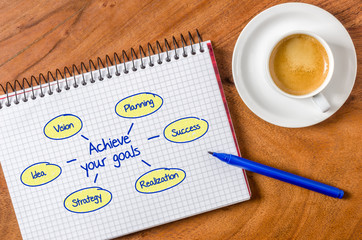 Achieve your goals written on a notepad