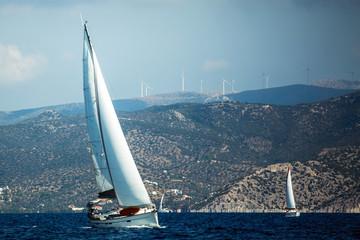 Wall Mural - Sailing luxury yacht boat in Aegean Sea, Greece.