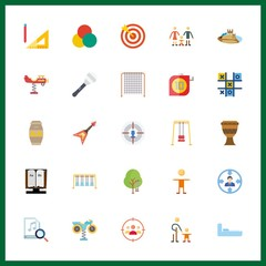 25 play icon. Vector illustration play set. target and swing icons for play works