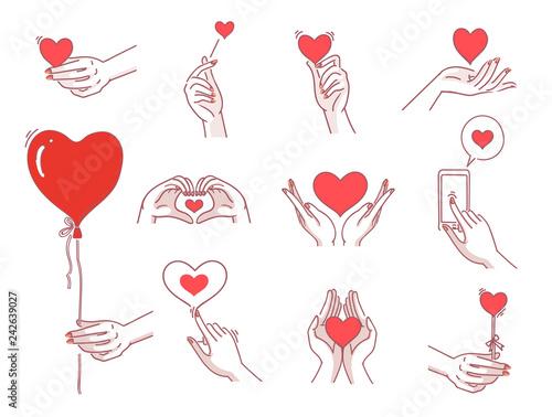 Heart hands female set  Women hand holding heart symbol