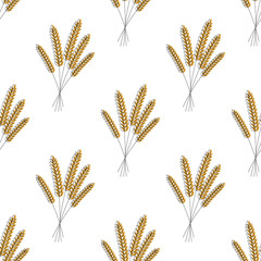 Seamless pattern. Vector illustration. Agriculture wheat Background vector icon Illustration design. Barley.
