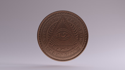 Illuminati Bronze Coin 3d illustration