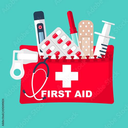 First aid kit  Medical equipment and medications  Healthcare concept