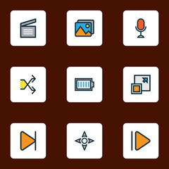 Media icons colored line set with enlarge, controller, upward and other slow forward  elements. Isolated vector illustration media icons.