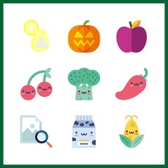 9 organic icon. Vector illustration organic set. cherry and image icons for organic works
