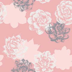 drawing succulents plant seamless pattern with pink background