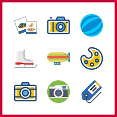 9 hobby icon. Vector illustration hobby set. tag and zeppelin icons for hobby works