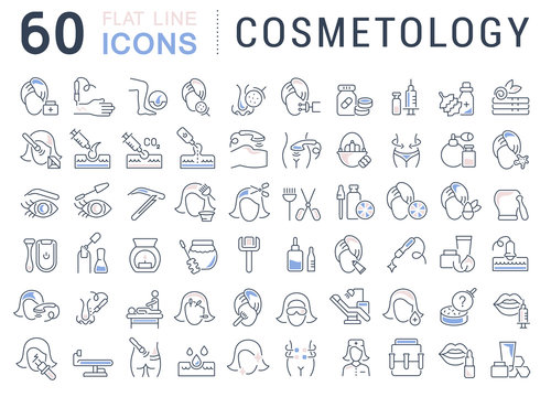 Set Vector Line Icons of Cosmetology.