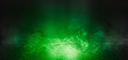 Photo sur Aluminium UFO Background of empty scene with concrete floor, neon lights and smoke. Background trend color ufo green