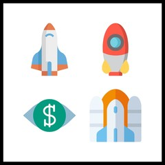4 mission icon. Vector illustration mission set. vision and rocket ship icons for mission works