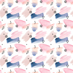 Watercolor hand-painted pastel colored brush stroke seamless pattern with graphic elements - wrapping paper, wallpaper, textile design