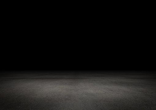 Dunkler Boden Hintergrund Leer Stein Beton bei Nacht