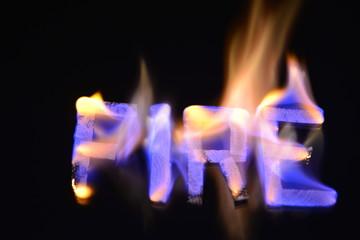 Fototapeta Ogień - płonące słowa obraz