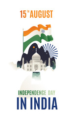 Flat modern isolated design Happy Independence day India, Vector illustration, Flyer design for 15th August. flag vector flag agra. vector taj mahal moon flag on the background