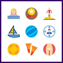 9 sport icon. Vector illustration sport set. medal and ball icons for sport works