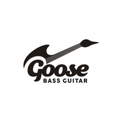 Unique Bass Guitar with Goose Shape Logo design