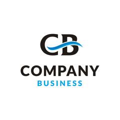 Initials / Monogram CB logo design with blue wave