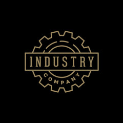 Simple Industrial Badge Logo design using Gear Shape with minimalist line style