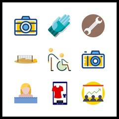 9 professional icon. Vector illustration professional set. swimmer and accept icons for professional works