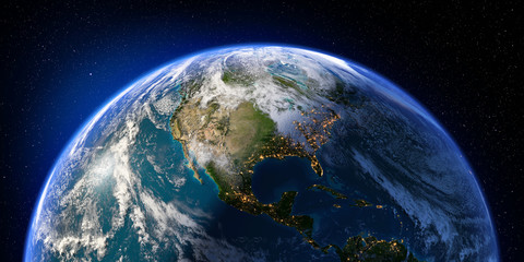 Planet Earth with detailed relief and atmosphere. Day and Night. North and Central America. 3D rendering. Elements of this image furnished by NASA Wall mural