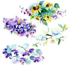 Bouquet floral flower. Watercolor background set. Watercolour drawing aquarelle. Isolated bouquet illustration element.