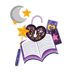 mystical padlock with heart shape and book