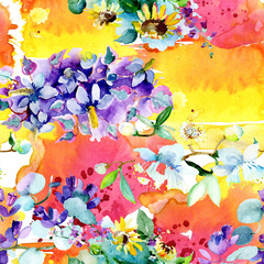 Bouquet flowers. Watercolor background. Watercolour drawing seamless background pattern. Fabric wallpaper print texture.