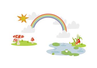 池に降る雨。 梅雨のイラスト。 水際の生物。 雨が降っている風景。 自然の景観。 梅雨の風景のイメージ。