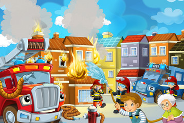 cartoon stage with fireman and fire truck near burning building colorful scene - illustration for children