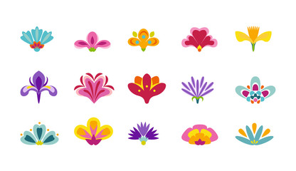 Set of cute decorative flowers isolated on white background. Design elements, icons, stickers. Vector illustration in cartoon flat style.