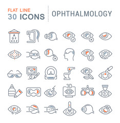 Set Vector Line Icons of Ophthalmology.