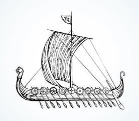 Ancient Viking ship. Vector drawing