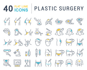 Set Vector Line Icons of Plastic Surgery.