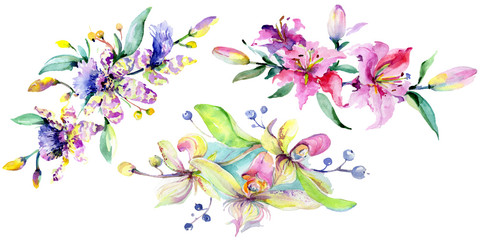 Pink and purple orchid flower. Watercolour drawing fashion aquarelle isolated. Isolated bouquet illustration element.