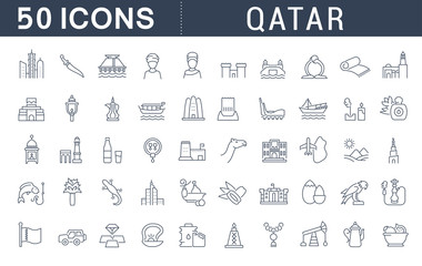Set Vector Line Icons of Qatar.