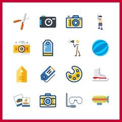 16 hobby icon. Vector illustration hobby set. paint palette and ice skate icons for hobby works